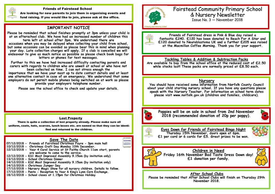 Fairstead Community Primary School & Nursery Newsletter