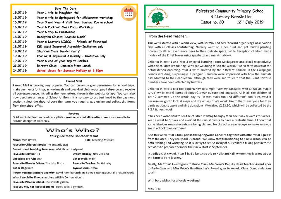 Newsletters – Fairstead Community Primary & Nursery School