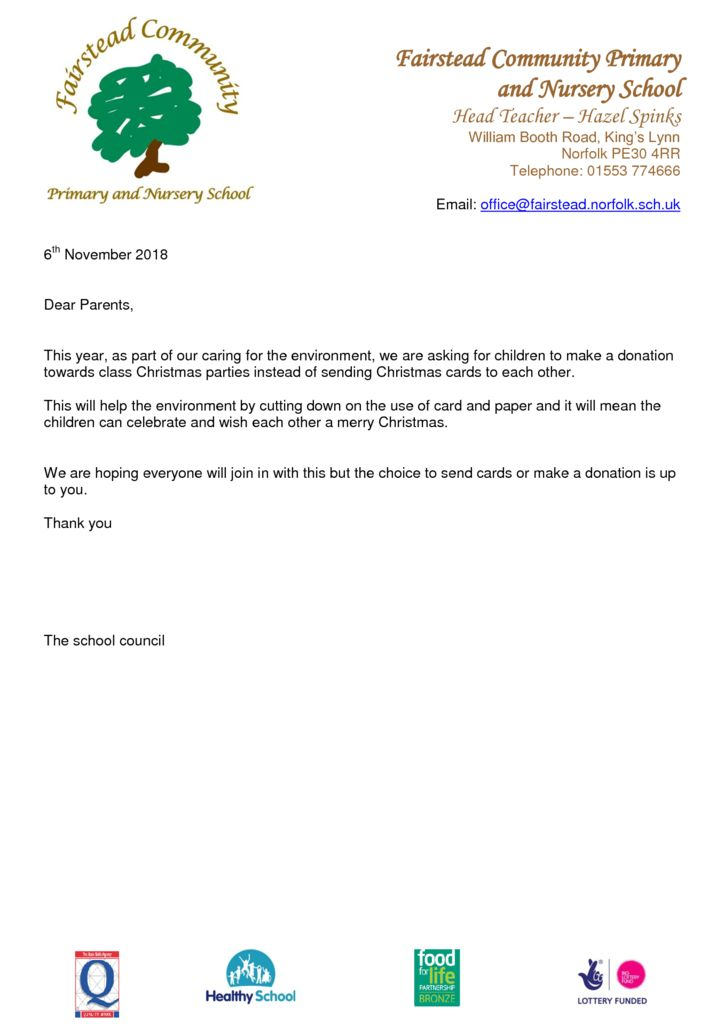 thumbnail of Christmas card school council letter
