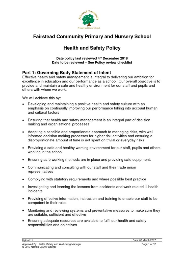 thumbnail of Policy – Health and Safety (4.12.18)