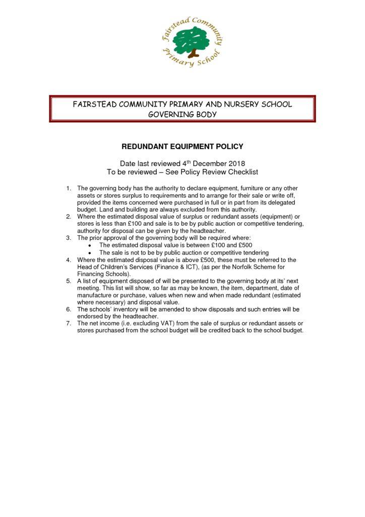 thumbnail of Policy – Redundant Equipment (4.12.18)