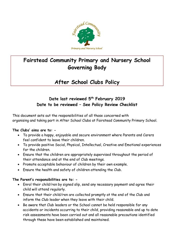 thumbnail of Policy- After School Clubs