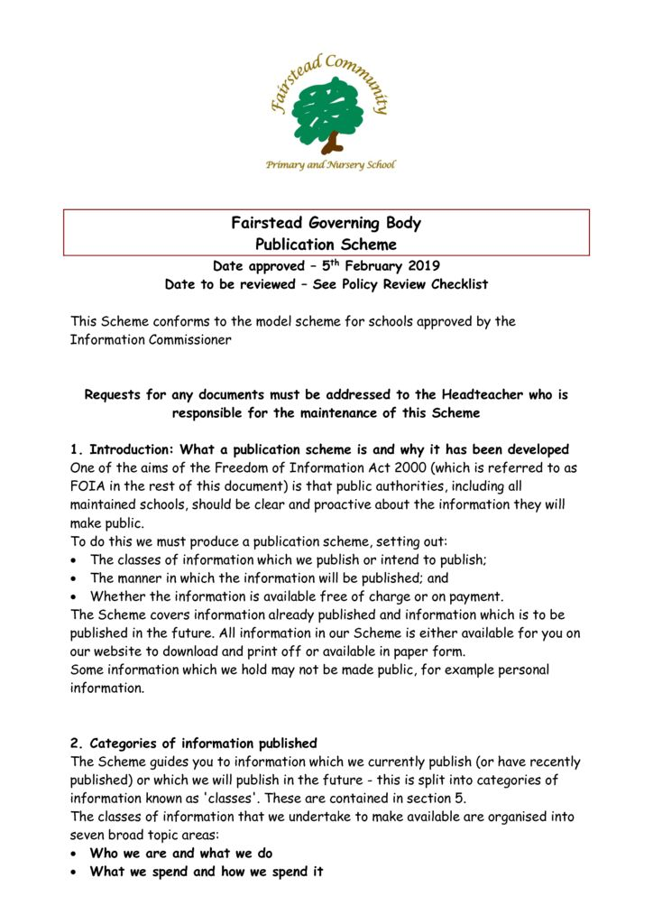 thumbnail of Policy – Publication Scheme