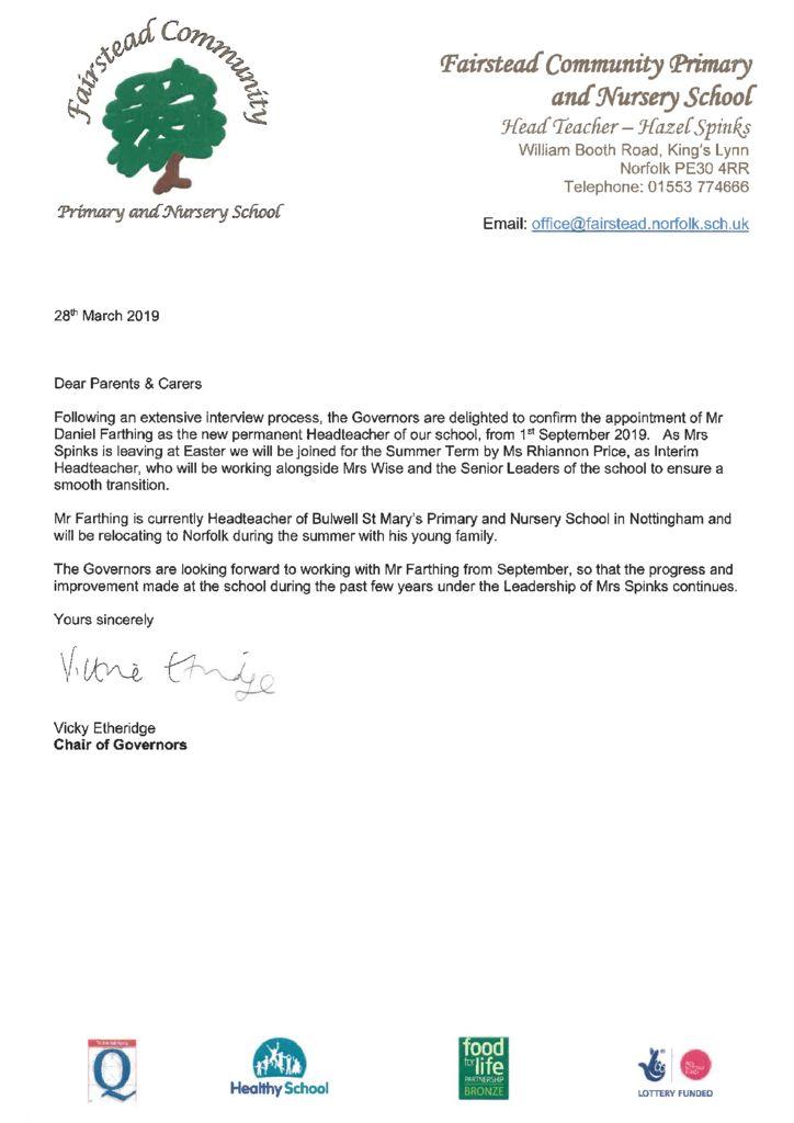 thumbnail of Governors Headteacher letter