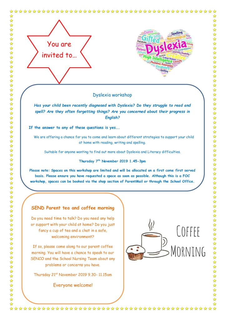 thumbnail of Dyslexia Coffee Morning and SEND coffee morning