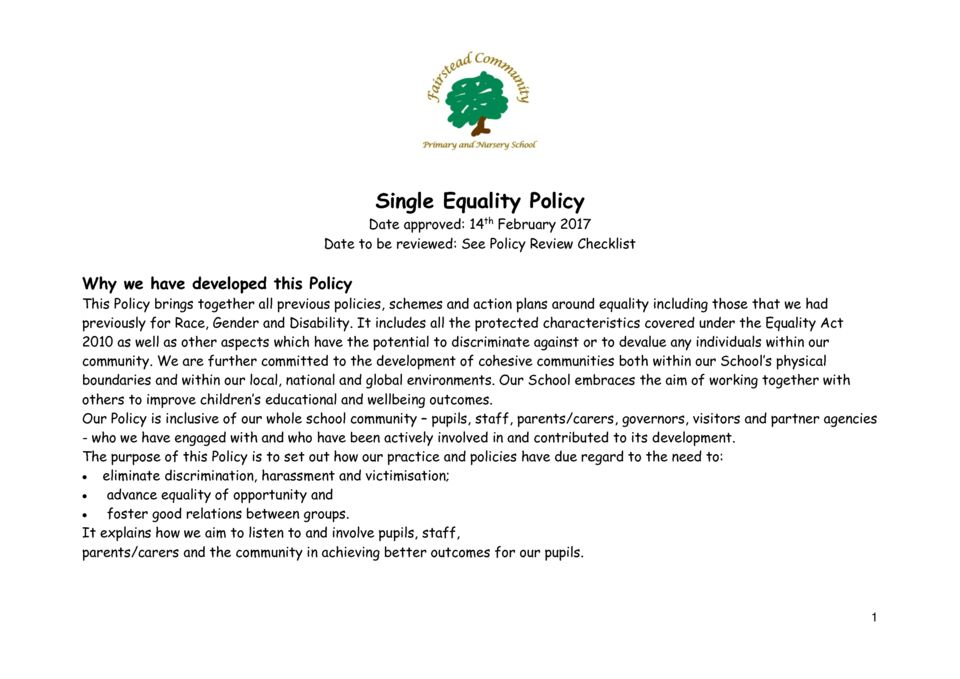 thumbnail of Policy – Single Equality (14.2.17)