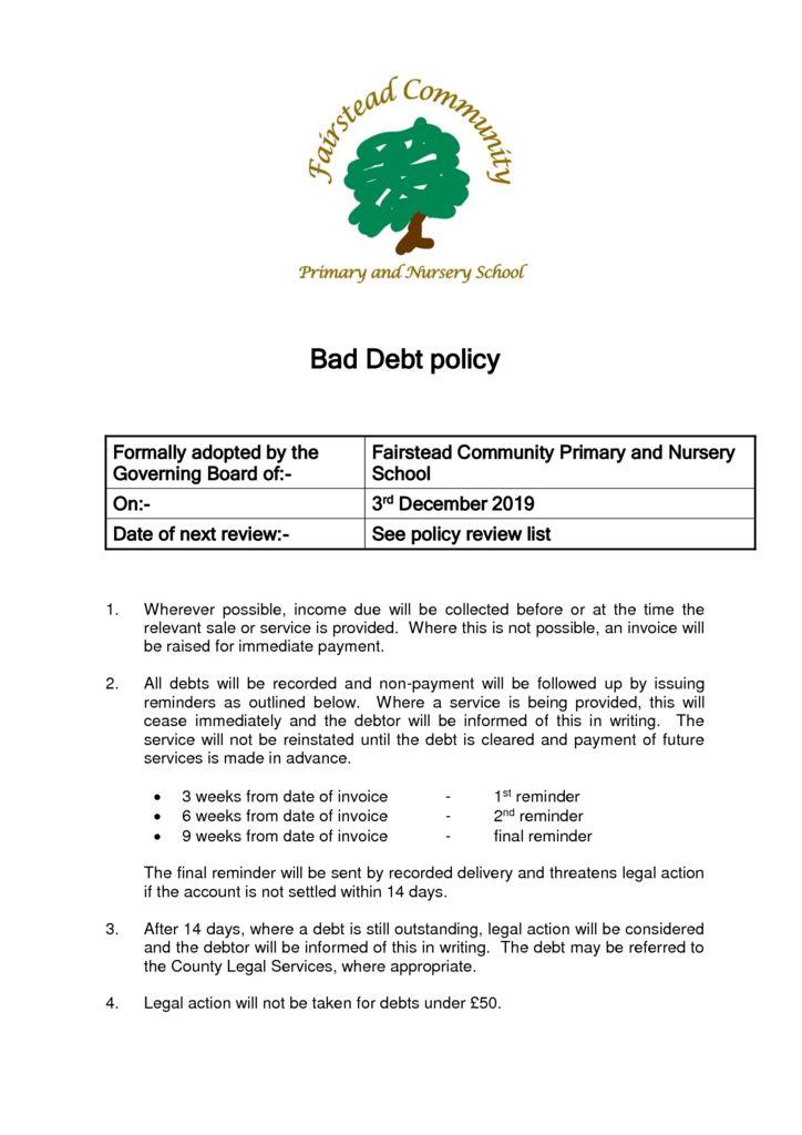 thumbnail of Policy – Bad Debt (3.12.19)