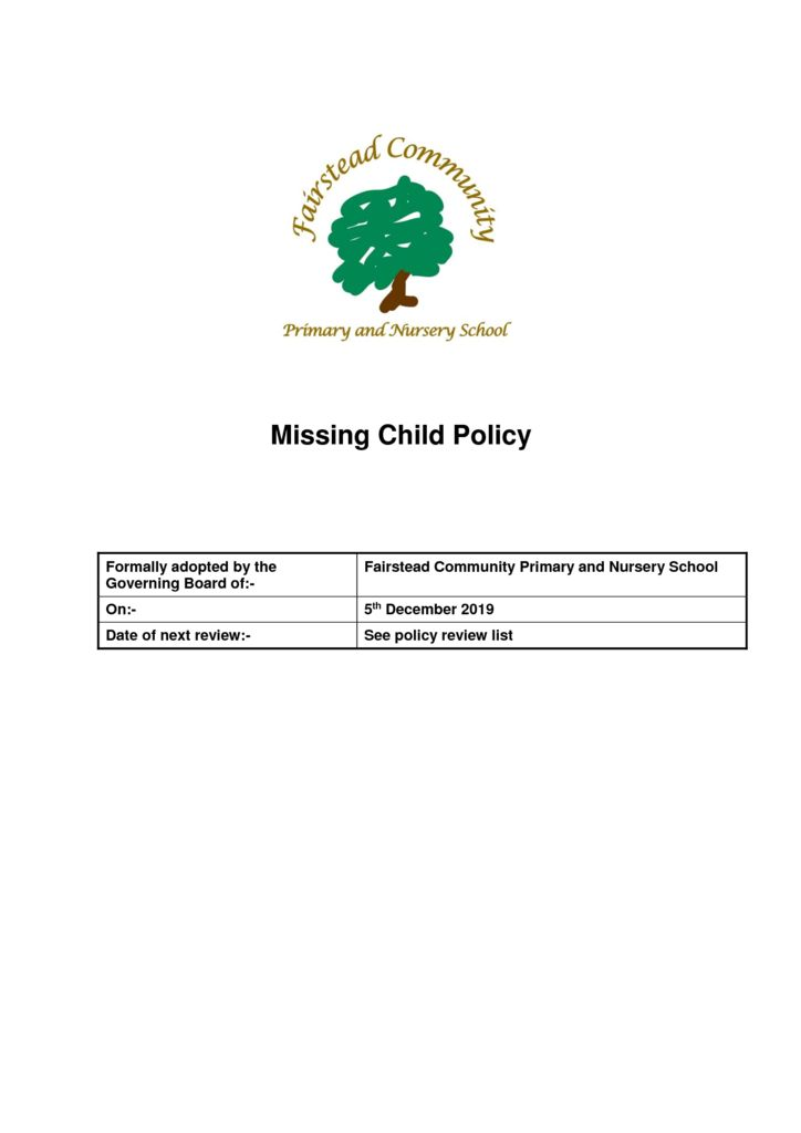 thumbnail of Policy – Missing Child (3.12.19)