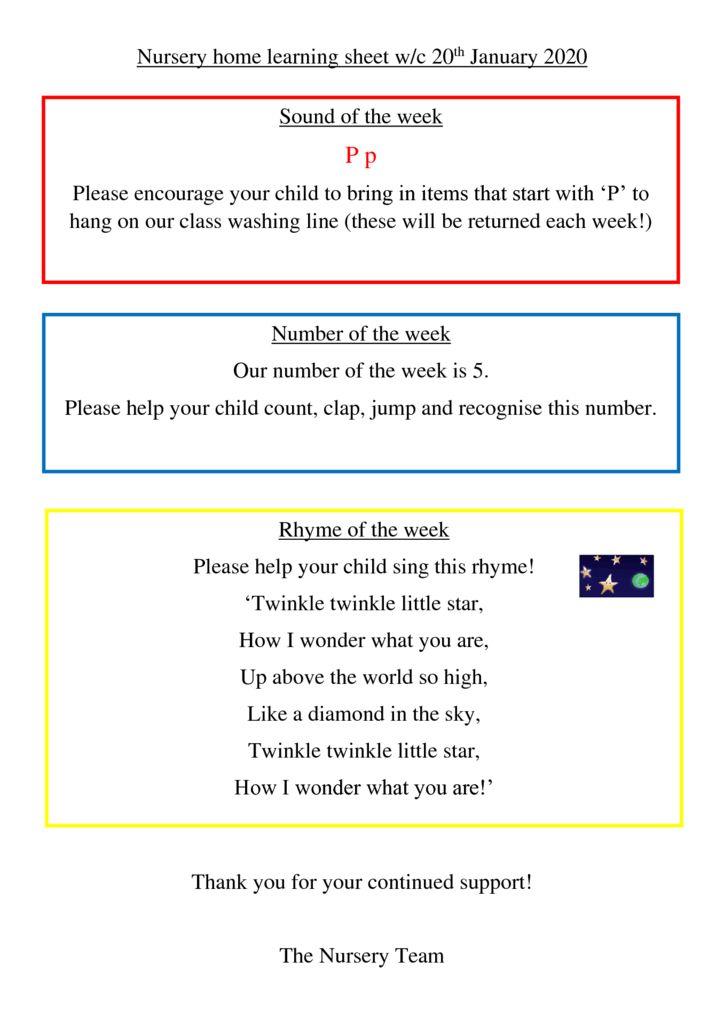 thumbnail of Nursery Home Learning Sheet 20th Jan