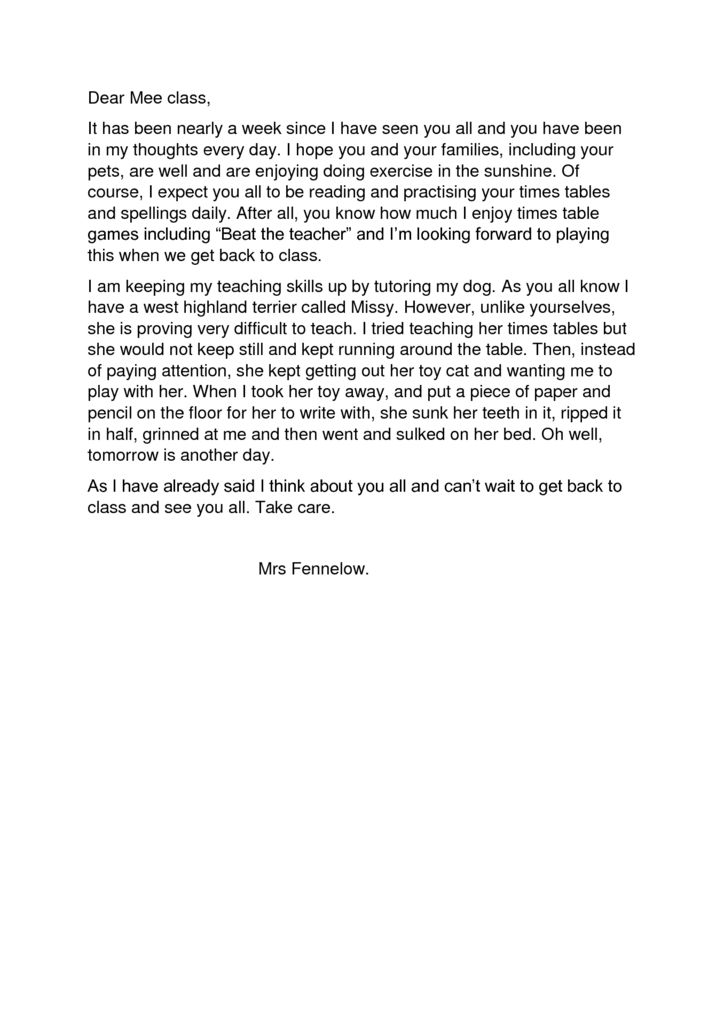 thumbnail of Letter to Mee Class