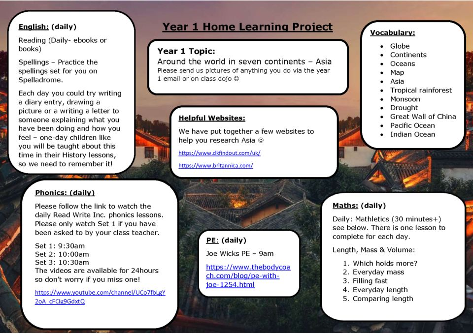 thumbnail of Y1 Summer 1 Home Learning – Week 1 Asia