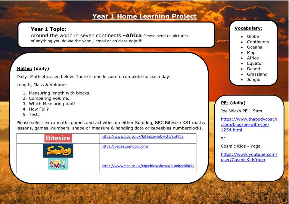 thumbnail of Y1 Summer 1 Home Learning – Week 2 Africa