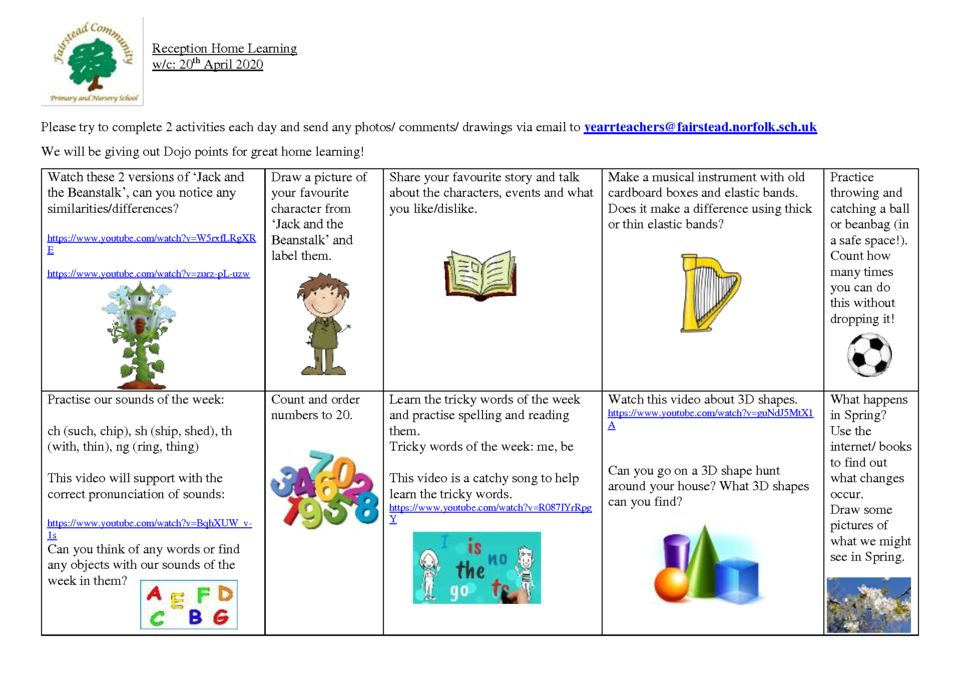 thumbnail of home learning 20.4.20 Reception