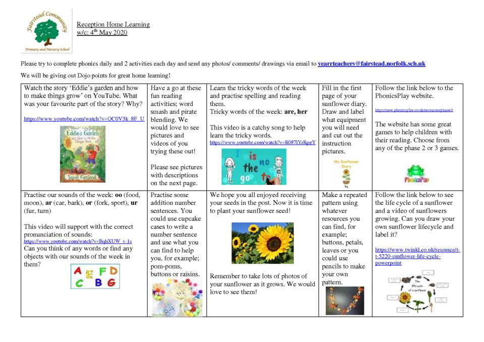 thumbnail of Reception Home Learning 4.5.2020