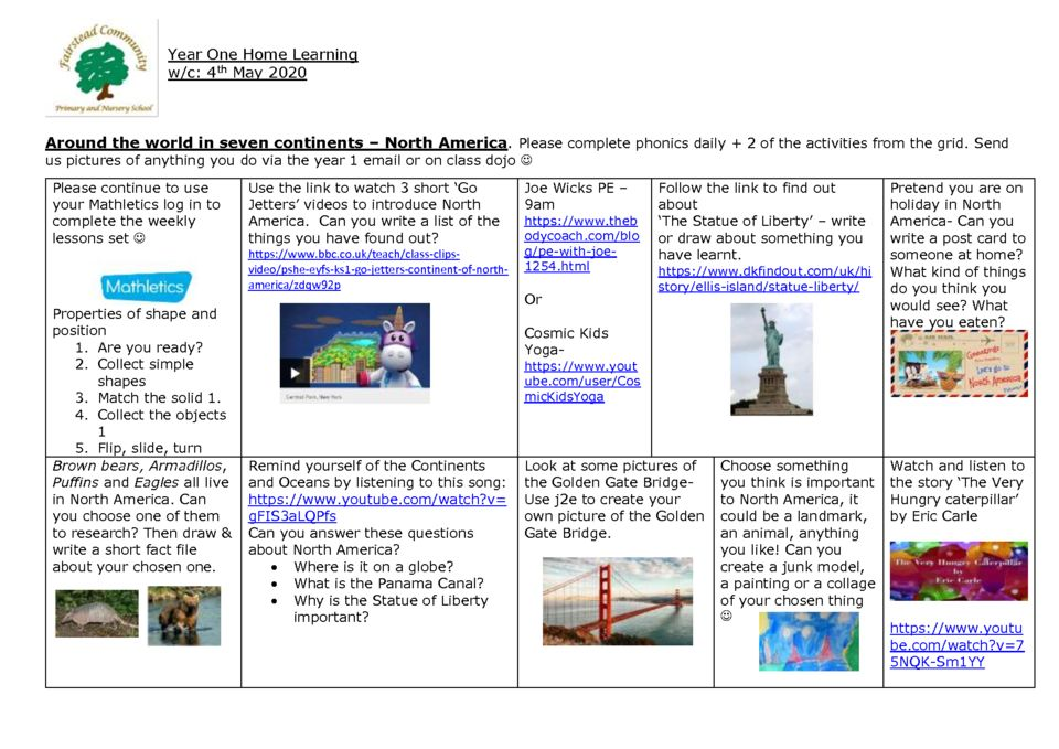thumbnail of Y1 Summer 1 Home Learning – Week 3 North America