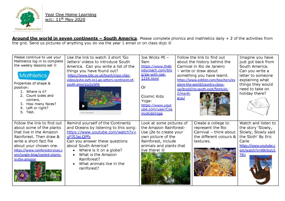thumbnail of Y1 Summer 1 Home Learning – Week 4 South America