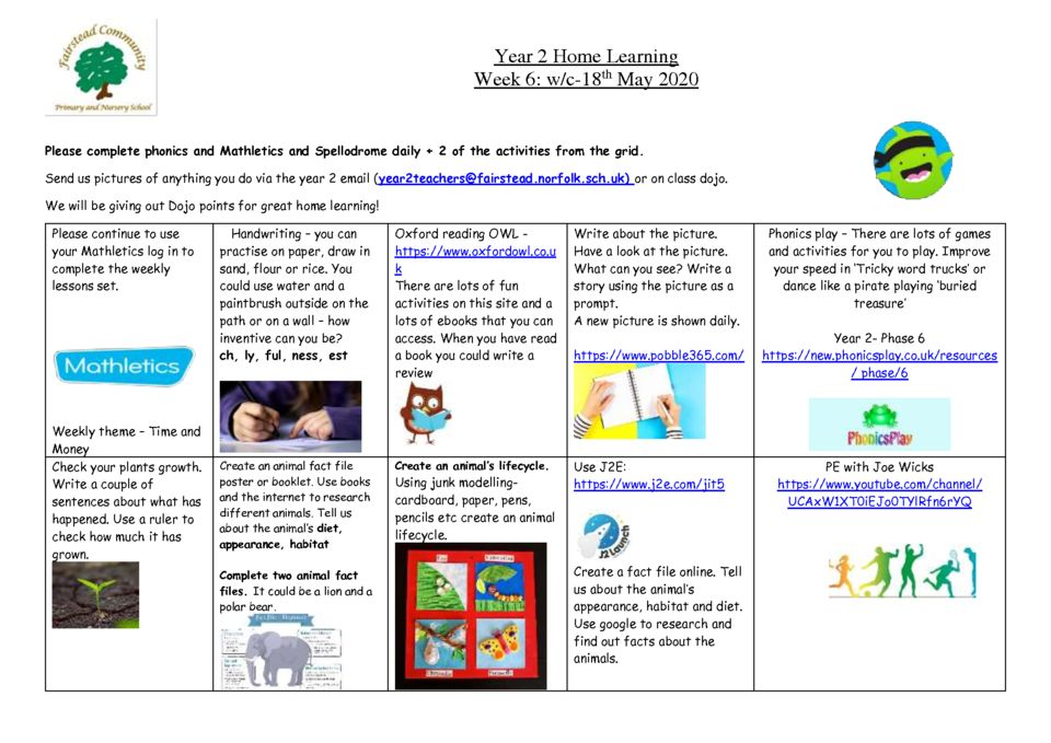 thumbnail of Year 2 Home Learning 18.05.2020